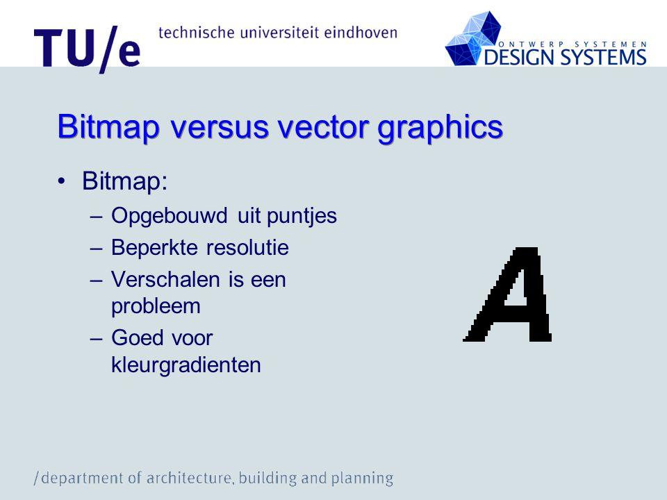 Bitmap versus vector graphics Bitmap: –Opgebouwd uit puntjes –Beperkte resolutie –Verschalen is een probleem –Goed voor kleurgradienten