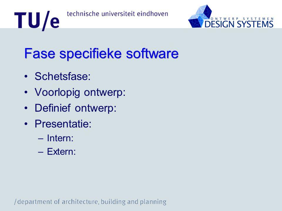 Fase specifieke software Schetsfase: Voorlopig ontwerp: Definief ontwerp: Presentatie: –Intern: –Extern:
