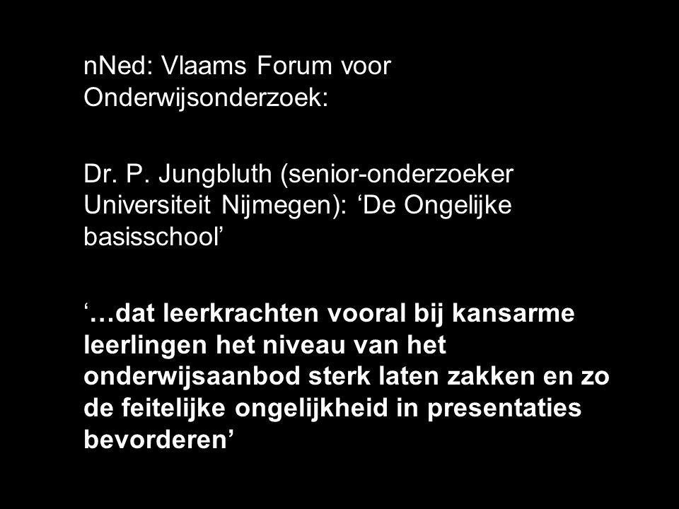 nNed: Vlaams Forum voor Onderwijsonderzoek: Dr. P. Jungbluth (senior-onderzoeker Universiteit Nijmegen): 'De Ongelijke basisschool' '…dat leerkrachten