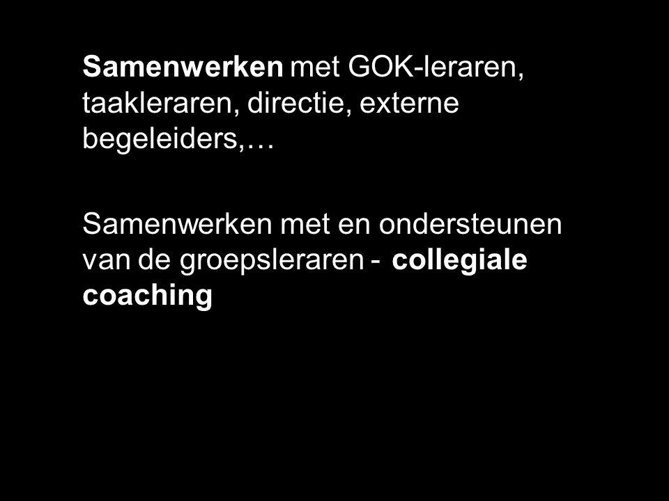 Samenwerken met GOK-leraren, taakleraren, directie, externe begeleiders,… Samenwerken met en ondersteunen van de groepsleraren - collegiale coaching