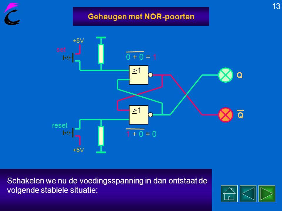 Dit is de spanningsloze uitgangssituatie van een geheugen- schakeling met 2x NOR-poort 12 Geheugen met NOR-poorten, 2x PULLDOWN-weerstand, 2x uitgangs-LEDen 2x drukknop SET en RESET.