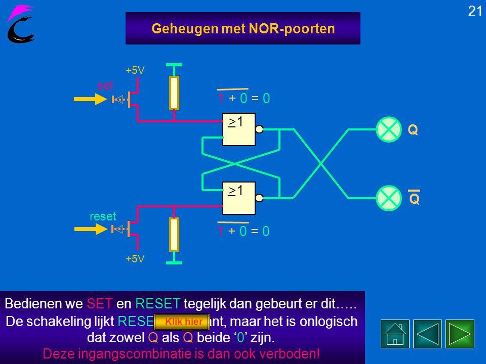 In werkelijkheid vindt het SETten en RESETten van deze LATCH in een paar nanoseconden plaats. Probeer maar eens…. 20 Geheugen met NOR-poorten >1 _ _ +