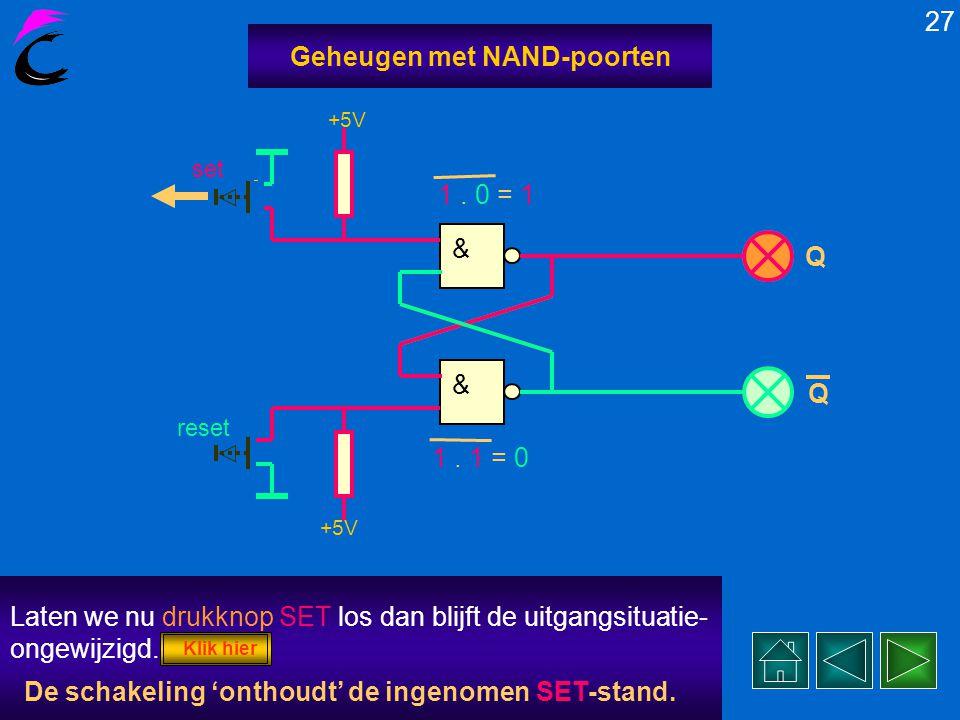 26 Geheugen met NAND-poorten reset & & +5V Q Q Drukken we nu op drukknop SET dan ontstaat de volgende situatie....... 1. 1 = 0 0. 1 = 1 0. 0 = 1 Uitga