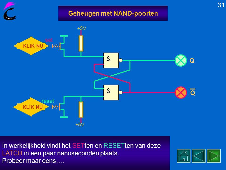 In werkelijkheid vindt het SETten en RESETten van deze LATCH in een paar nanoseconden plaats. Probeer maar eens…. 30 Geheugen met NAND-poorten KLIK NU