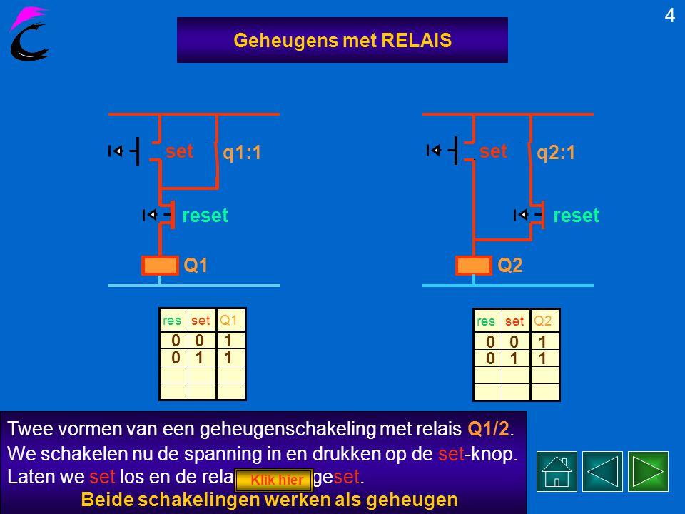 Twee vormen van een geheugenschakeling met relais Q1/2.