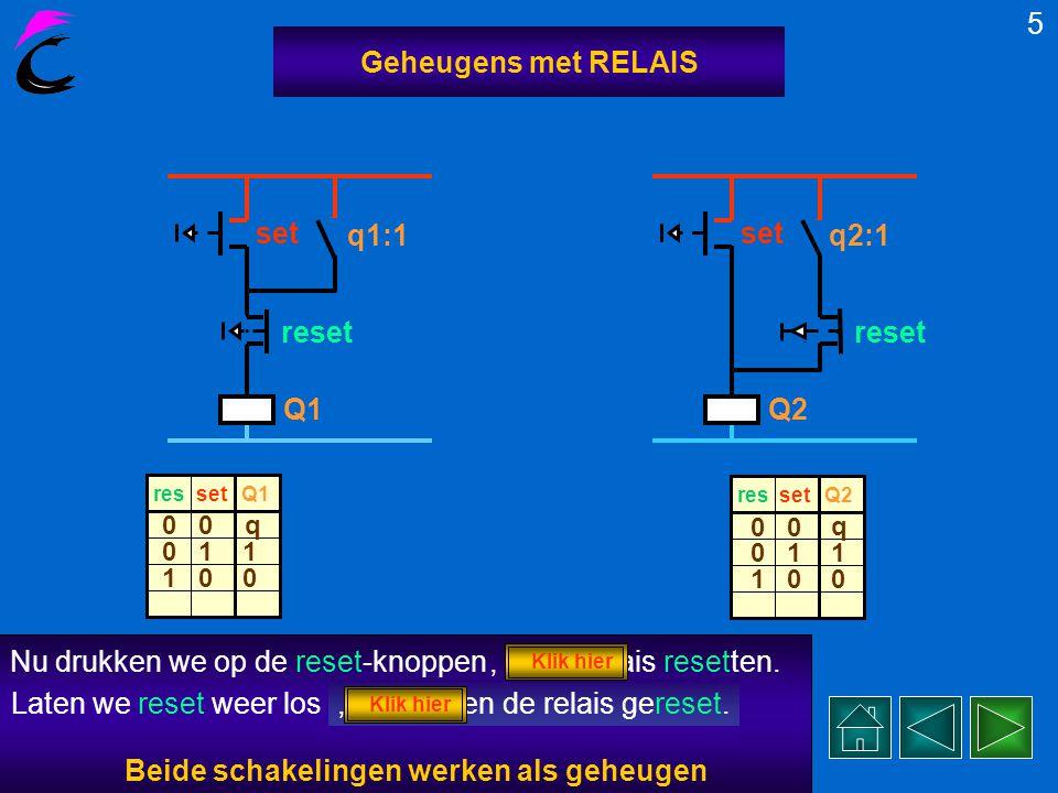 Twee vormen van een geheugenschakeling met relais Q1/2. 4 Geheugens met RELAIS Q1 q1:1 set reset We schakelen nu de spanning inen drukken op de set-kn