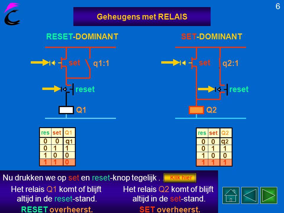 Nu drukken we op de reset-knoppen 5 Geheugens met RELAIS Q1 q1:1 set reset Beide schakelingen werken als geheugen set resQ1 0 1 1 0 0 1 1 0 0, beide relais resetten.