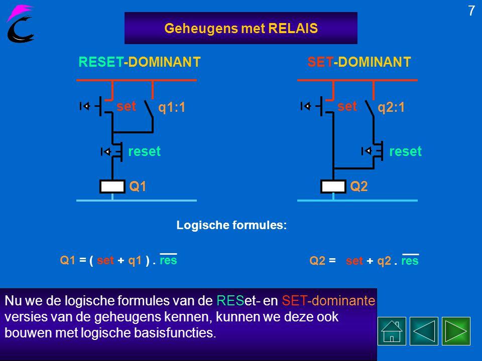 set resQ2 Nu drukken we op set en reset-knop tegelijk.... 6 Geheugens met RELAIS Q1 q1:1 set reset set resQ1 0 1 1 0 0 1 1 0 0 Het relais Q1 komt of b