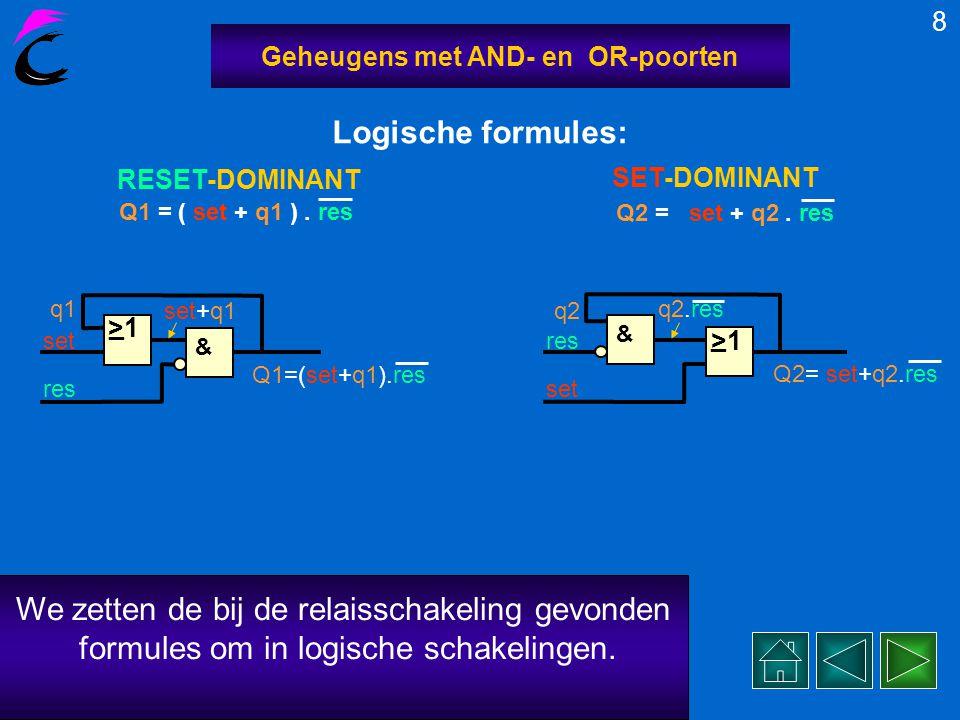 Nu we de logische formules van de RESet- en SET-dominante versies van de geheugens kennen, kunnen we deze ook bouwen met logische basisfuncties. 7 Geh