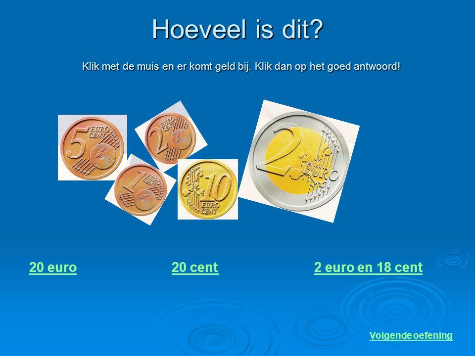 Hoeveel is dit? Klik met de muis en er komt geld bij. Klik dan op het goed antwoord! 15 euro18 euro13 euro Volgende oefening