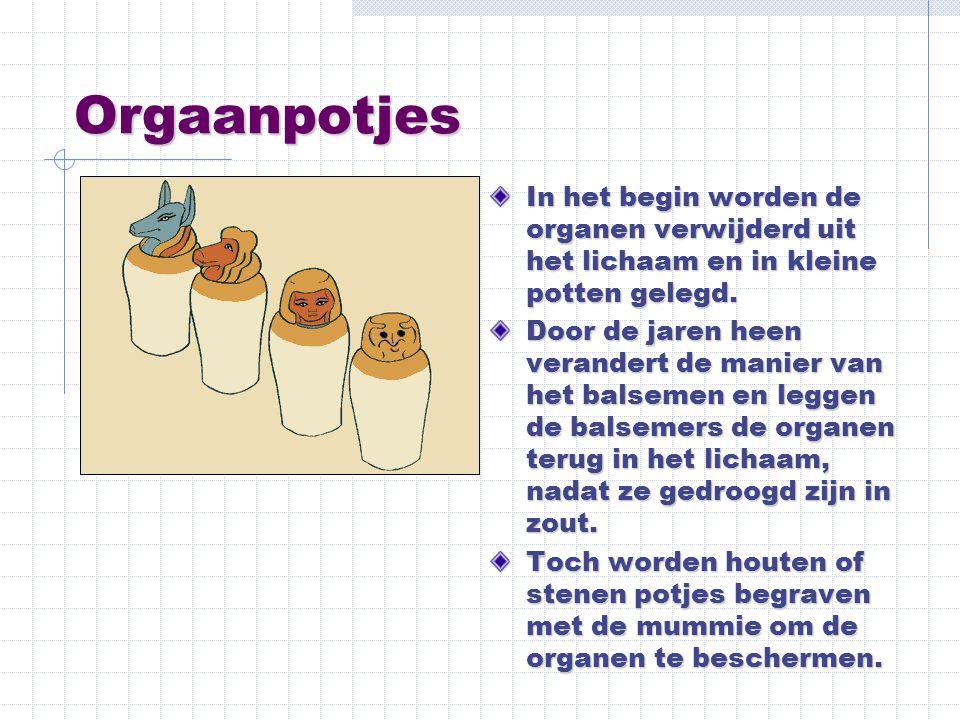 Orgaanpotjes In het begin worden de organen verwijderd uit het lichaam en in kleine potten gelegd. Door de jaren heen verandert de manier van het bals