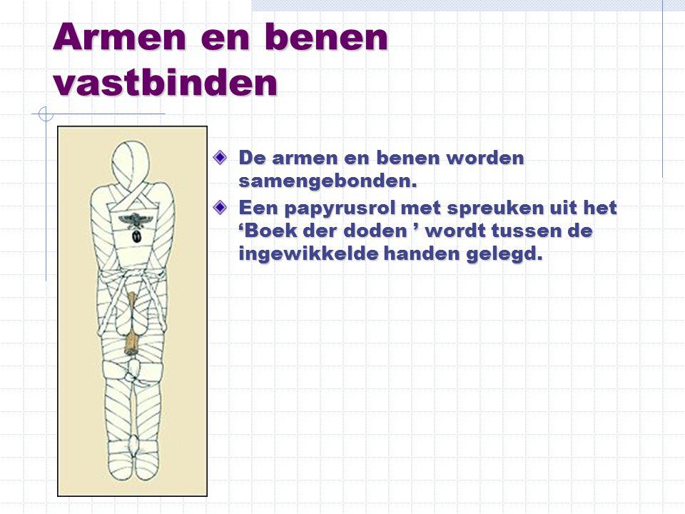 Armen en benen vastbinden De armen en benen worden samengebonden. Een papyrusrol met spreuken uit het 'Boek der doden ' wordt tussen de ingewikkelde h