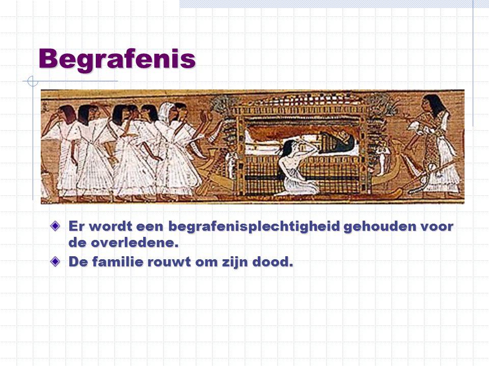 Begrafenis Er wordt een begrafenisplechtigheid gehouden voor de overledene. De familie rouwt om zijn dood.