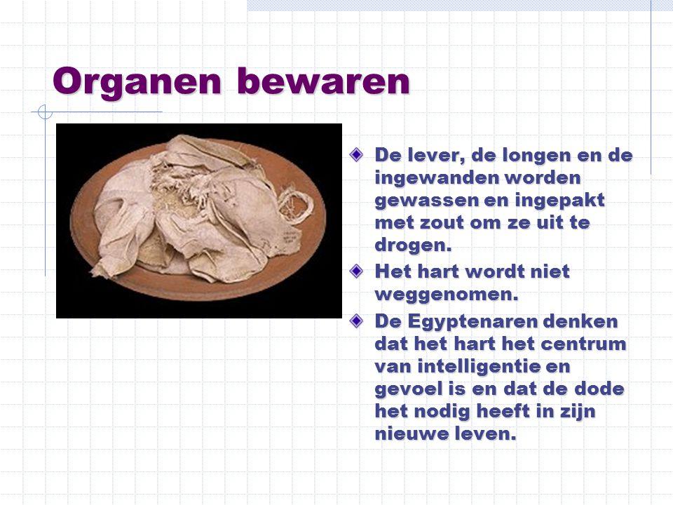Organen bewaren De lever, de longen en de ingewanden worden gewassen en ingepakt met zout om ze uit te drogen. Het hart wordt niet weggenomen. De Egyp
