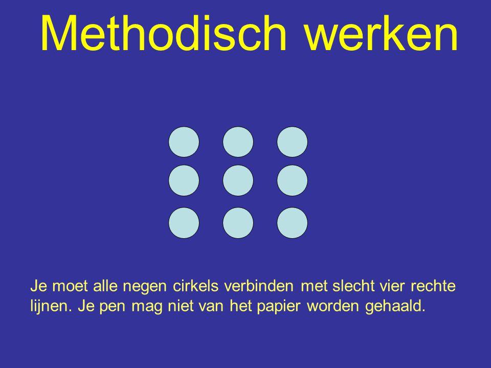 Methodisch werken Je moet alle negen cirkels verbinden met slecht vier rechte lijnen. Je pen mag niet van het papier worden gehaald.
