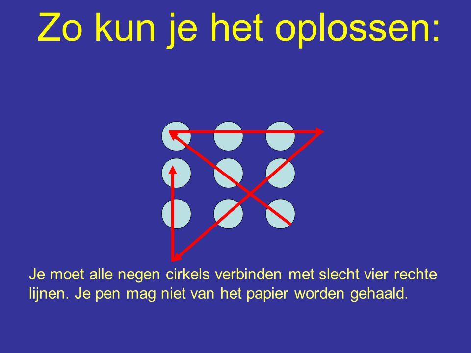 Zo kun je het oplossen: Je moet alle negen cirkels verbinden met slecht vier rechte lijnen. Je pen mag niet van het papier worden gehaald.
