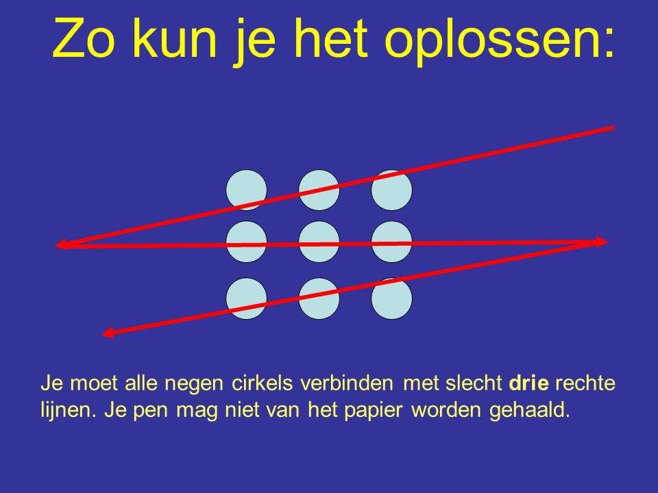 Zo kun je het oplossen: Je moet alle negen cirkels verbinden met slecht drie rechte lijnen. Je pen mag niet van het papier worden gehaald.