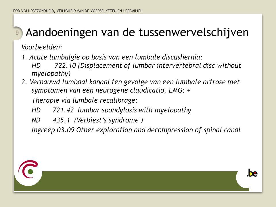 FOD VOLKSGEZONDHEID, VEILIGHEID VAN DE VOEDSELKETEN EN LEEFMILIEU 9 Aandoeningen van de tussenwervelschijven Voorbeelden: 1.
