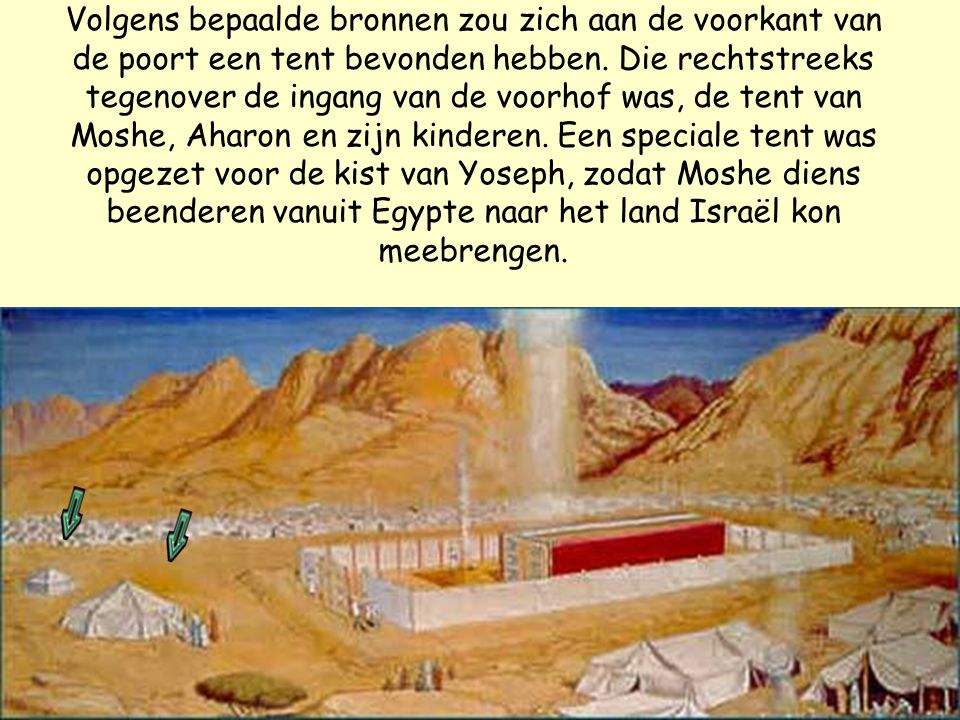 Exodus 33:7-9 Moshe nu nam een tent en spande haar voor zich uit buiten de legerplaats, ver van de legerplaats, en noemde haar: tent der samenkomst.