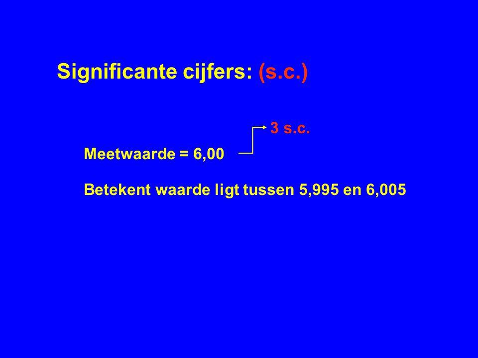 Significante cijfers: (s.c.) Meetwaarde = 6,00 Betekent waarde ligt tussen 5,995 en 6,005 3 s.c.