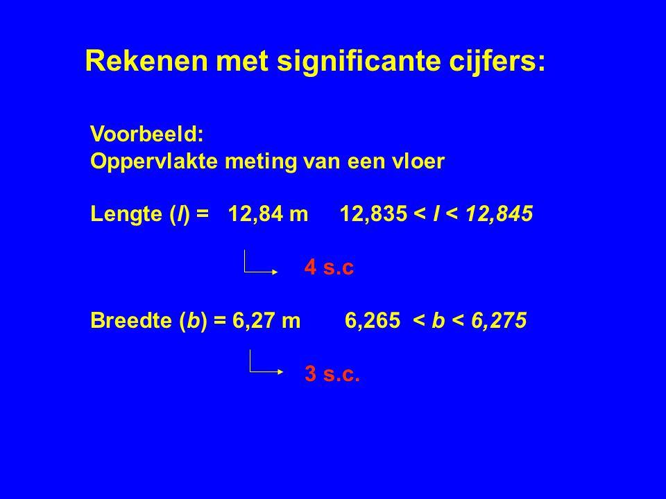 Voorbeeld: Oppervlakte meting van een vloer Lengte (l) = 12,84 m 12,835 < l < 12,845 4 s.c Breedte (b) = 6,27 m 6,265 < b < 6,275 3 s.c. Rekenen met s