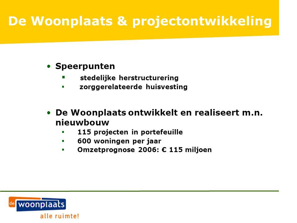 De Woonplaats & projectontwikkeling Speerpunten  stedelijke herstructurering  zorggerelateerde huisvesting De Woonplaats ontwikkelt en realiseert m.n.