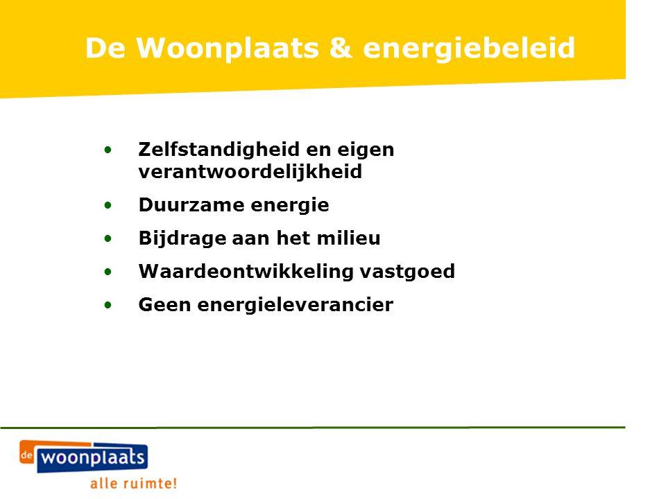 Zelfstandigheid en eigen verantwoordelijkheid Duurzame energie Bijdrage aan het milieu Waardeontwikkeling vastgoed Geen energieleverancier De Woonplaats & energiebeleid