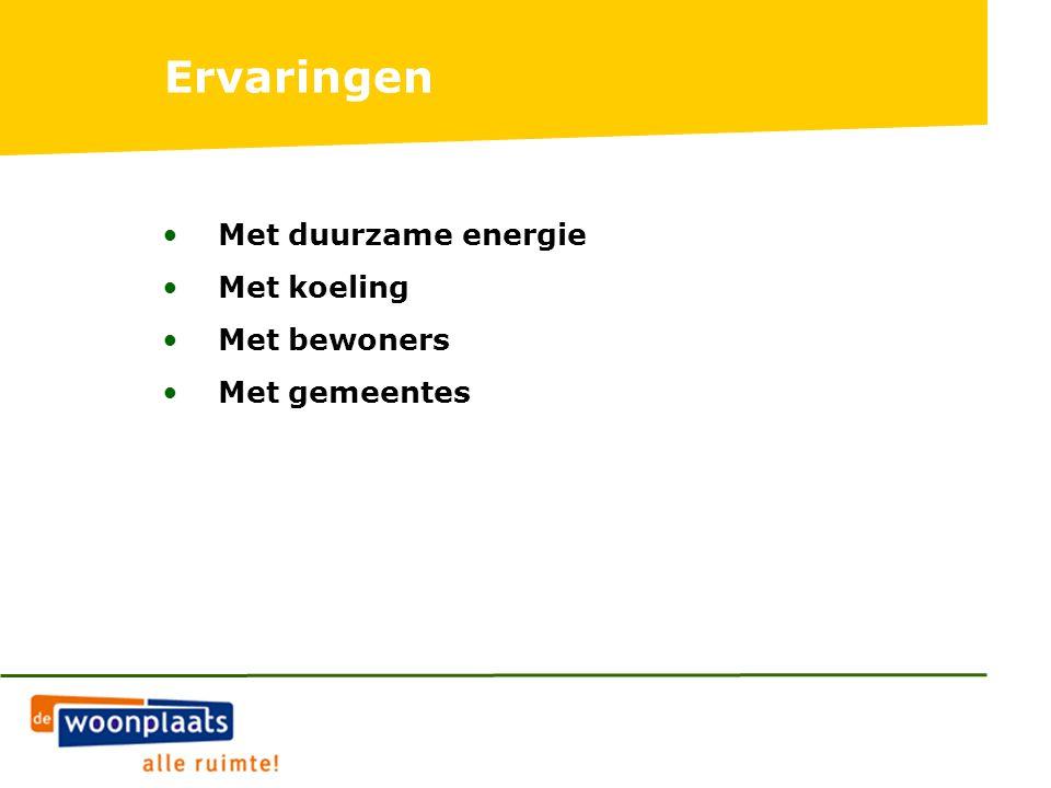 Ervaringen Met duurzame energie Met koeling Met bewoners Met gemeentes