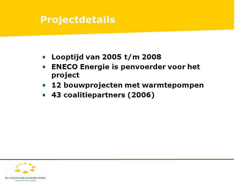 Projectdetails Looptijd van 2005 t/m 2008 ENECO Energie is penvoerder voor het project 12 bouwprojecten met warmtepompen 43 coalitiepartners (2006)