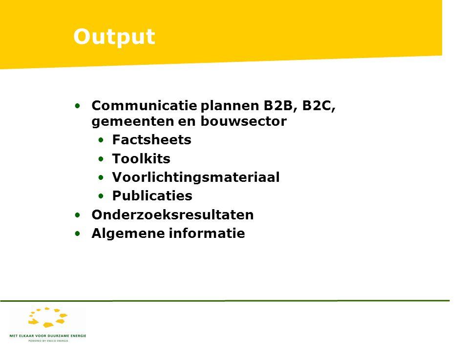 Output Communicatie plannen B2B, B2C, gemeenten en bouwsector Factsheets Toolkits Voorlichtingsmateriaal Publicaties Onderzoeksresultaten Algemene informatie