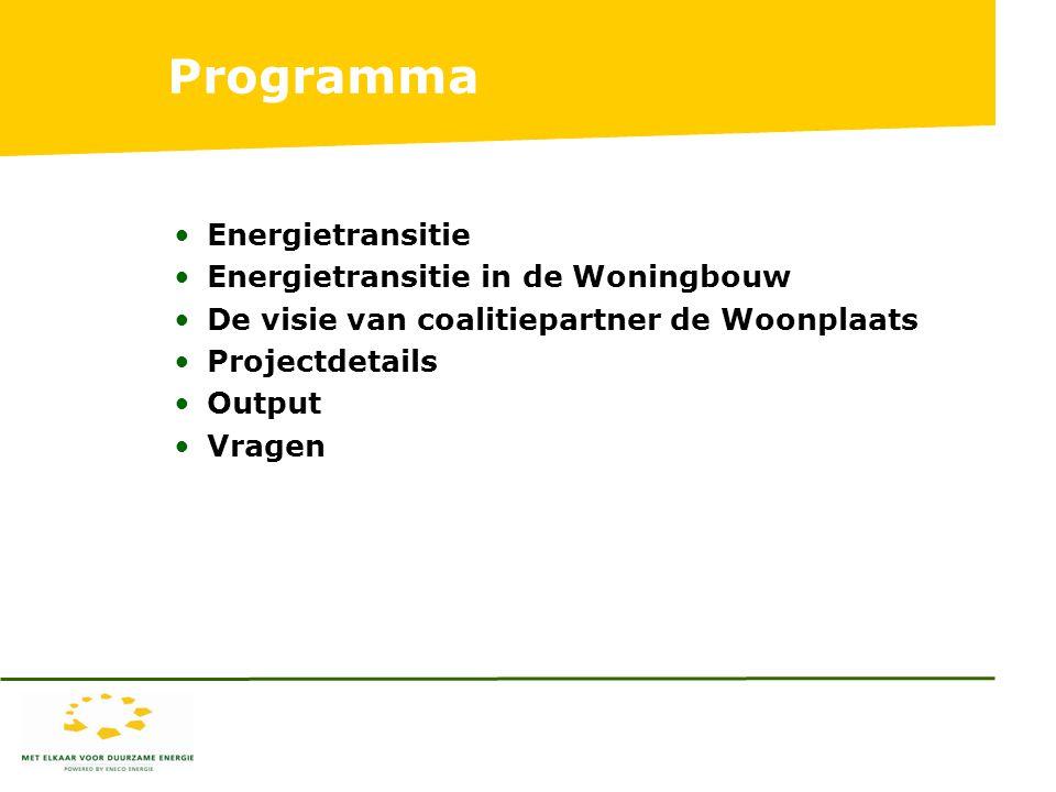 Programma Energietransitie Energietransitie in de Woningbouw De visie van coalitiepartner de Woonplaats Projectdetails Output Vragen