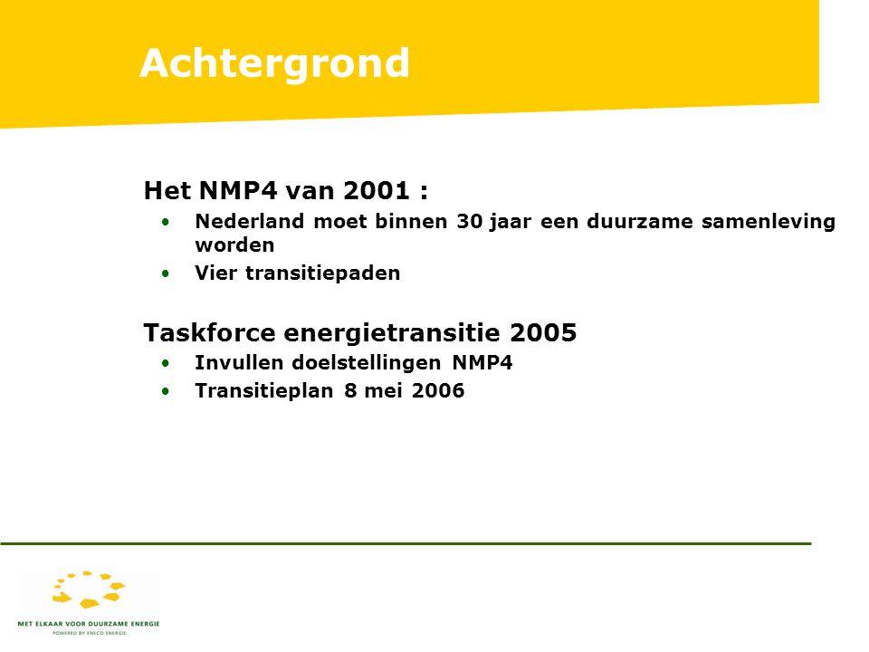 Achtergrond Het NMP4 van 2001 : Nederland moet binnen 30 jaar een duurzame samenleving worden Vier transitiepaden Taskforce energietransitie 2005 Invullen doelstellingen NMP4 Transitieplan 8 mei 2006
