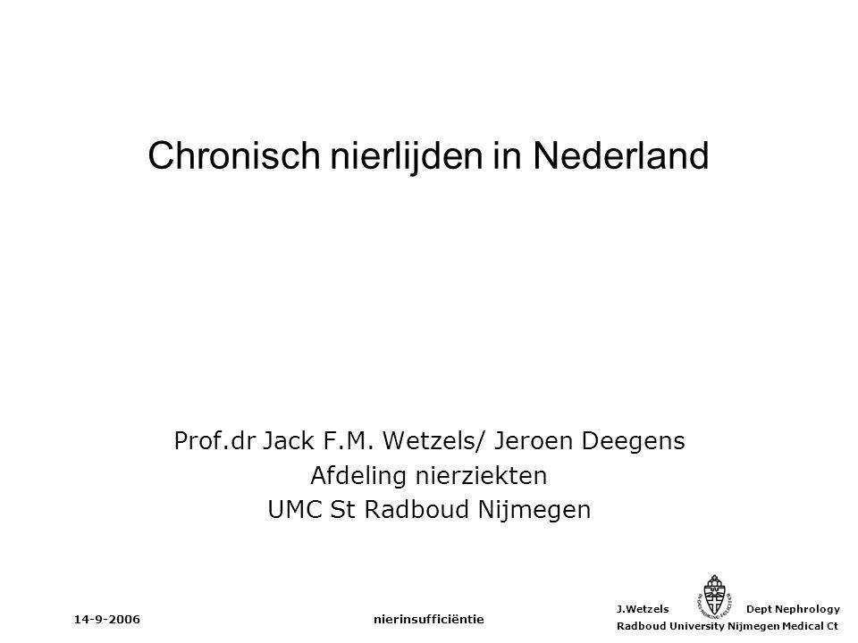 J.Wetzels Dept Nephrology Radboud University Nijmegen Medical Ct 14-9-2006nierinsufficiëntie Prevalentie en kosten van nierinsufficiëntie Nierinsufficiëntie = risicofactor voor cardiovasculaire morbiditeit en mortaliteit Nierfunctie = Glomerulaire Filtratie (GFR) –creatinine: geen goede maat –formules voor berekening van GFR: Cockcroft-Gault MDRD Onderwerpen
