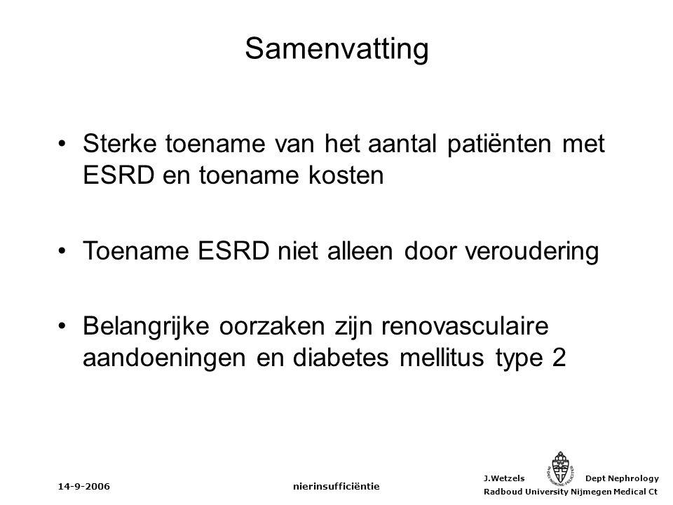 J.Wetzels Dept Nephrology Radboud University Nijmegen Medical Ct 14-9-2006nierinsufficiëntie Samenvatting Sterke toename van het aantal patiënten met