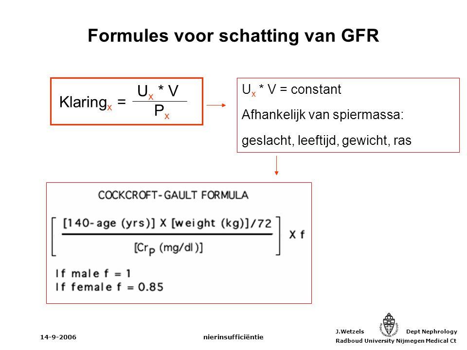 J.Wetzels Dept Nephrology Radboud University Nijmegen Medical Ct 14-9-2006nierinsufficiëntie Formules voor schatting van GFR Klaring x = U x * V P x U