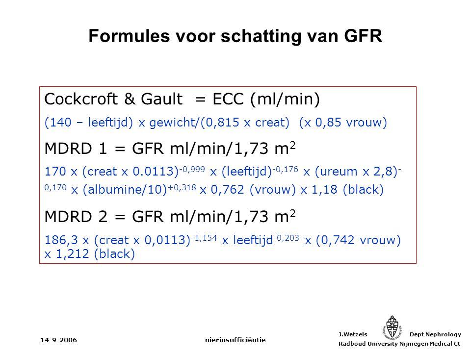 J.Wetzels Dept Nephrology Radboud University Nijmegen Medical Ct 14-9-2006nierinsufficiëntie Cockcroft & Gault = ECC (ml/min) (140 – leeftijd) x gewic