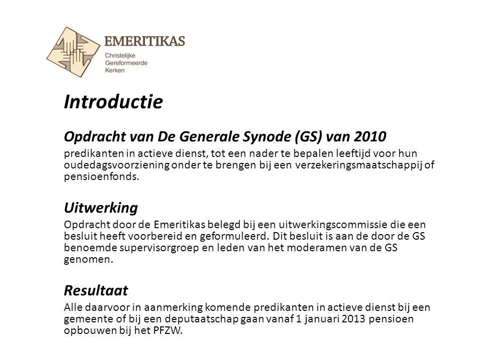 Opdracht van De Generale Synode (GS) van 2010 predikanten in actieve dienst, tot een nader te bepalen leeftijd voor hun oudedagsvoorziening onder te b