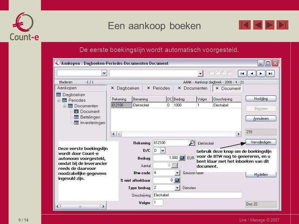 Een aankoop boeken De eerste boekingslijn wordt automatisch voorgesteld. Link \ Manage © 20079 / 14
