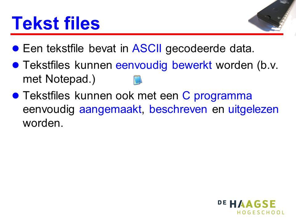 Tekst files Een tekstfile bevat in ASCII gecodeerde data.