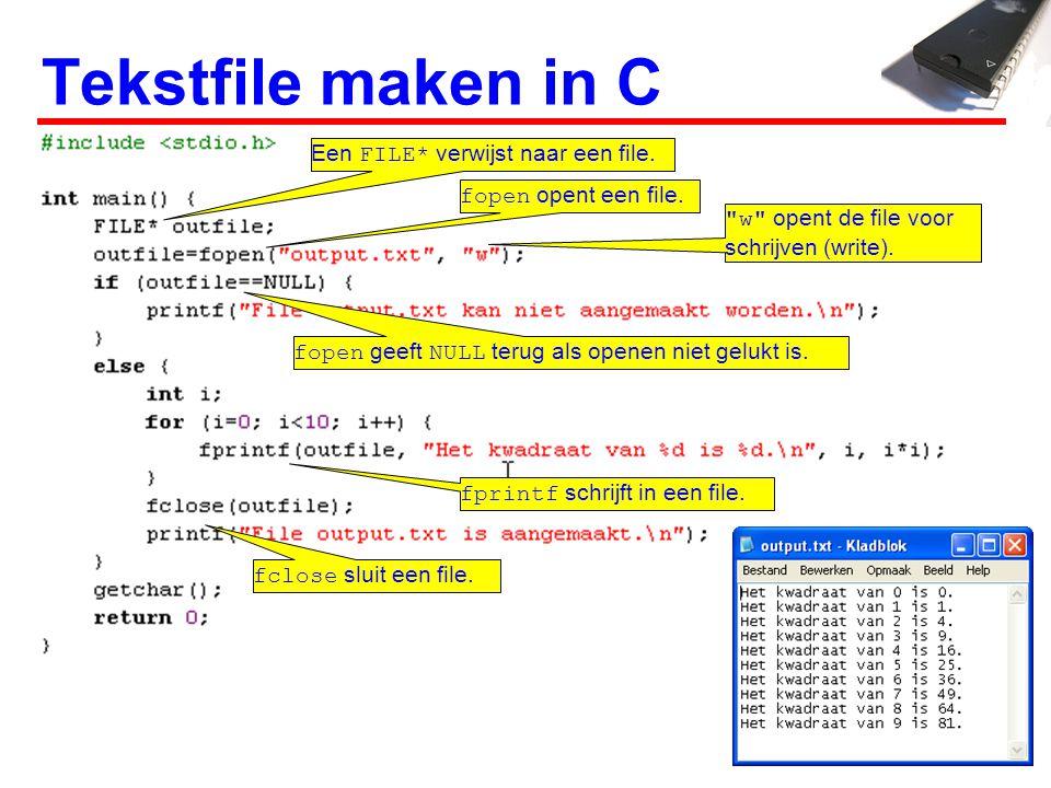 Tekstfile maken in C Een FILE* verwijst naar een file.