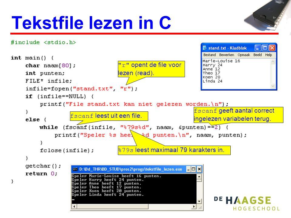 Tekstfile lezen in C r opent de file voor lezen (read).