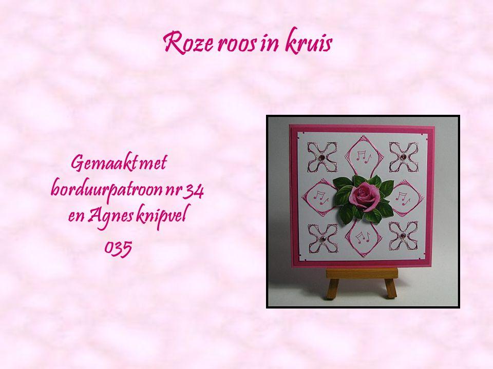 Oranje bloem Gemaakt met borduurpatroon nr 32 en Agnes knipvel 034
