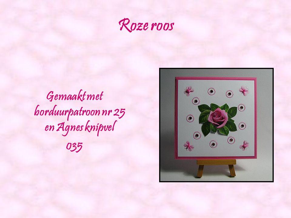 Witte roos Gemaakt met borduurpatroon nr 23 en Agnes knipvel 038