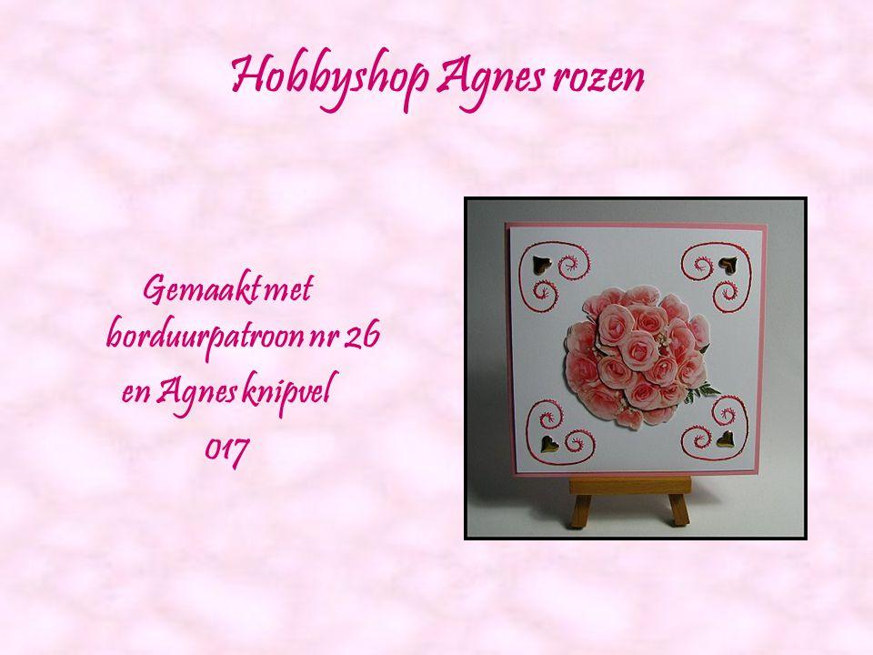 Roze roos Gemaakt met borduurpatroon nr 25 en Agnes knipvel 035