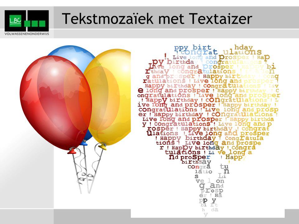 Tekstmozaïek met Textaizer