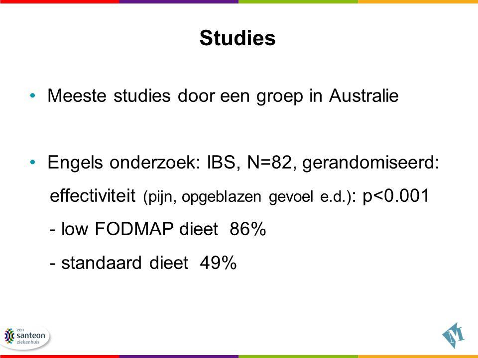 Studies Meeste studies door een groep in Australie Engels onderzoek: IBS, N=82, gerandomiseerd: effectiviteit (pijn, opgeblazen gevoel e.d.) : p<0.001