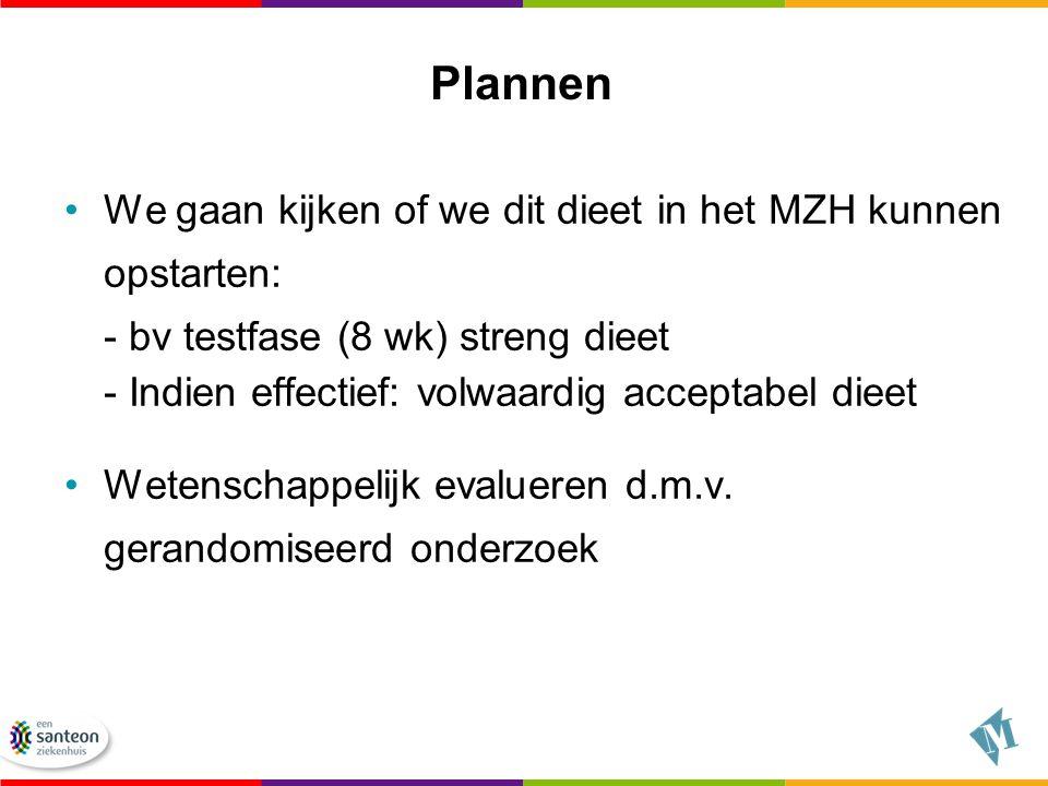 Plannen We gaan kijken of we dit dieet in het MZH kunnen opstarten: - bv testfase (8 wk) streng dieet - Indien effectief: volwaardig acceptabel dieet