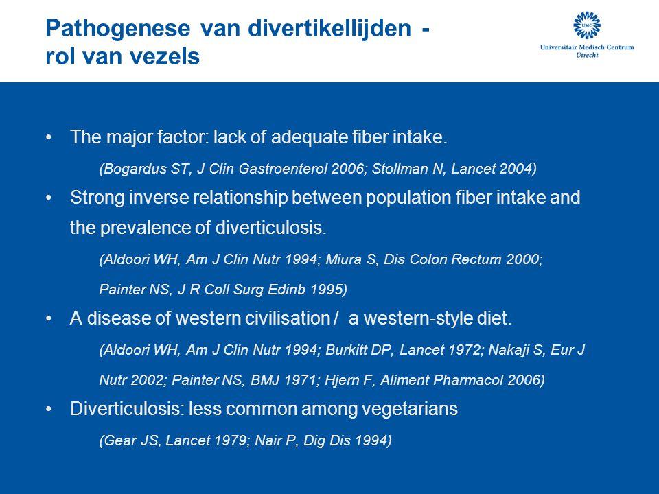Pathogenese van divertikellijden - rol van vezels The major factor: lack of adequate fiber intake. (Bogardus ST, J Clin Gastroenterol 2006; Stollman N