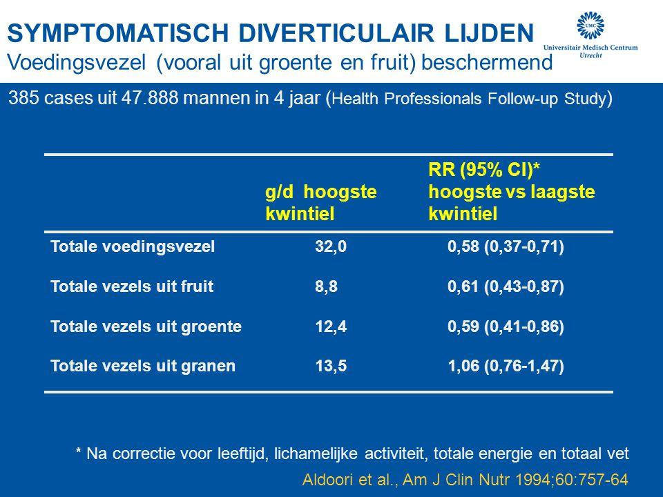 SYMPTOMATISCH DIVERTICULAIR LIJDEN Voedingsvezel (vooral uit groente en fruit) beschermend Aldoori et al., Am J Clin Nutr 1994;60:757-64 Totale voedin