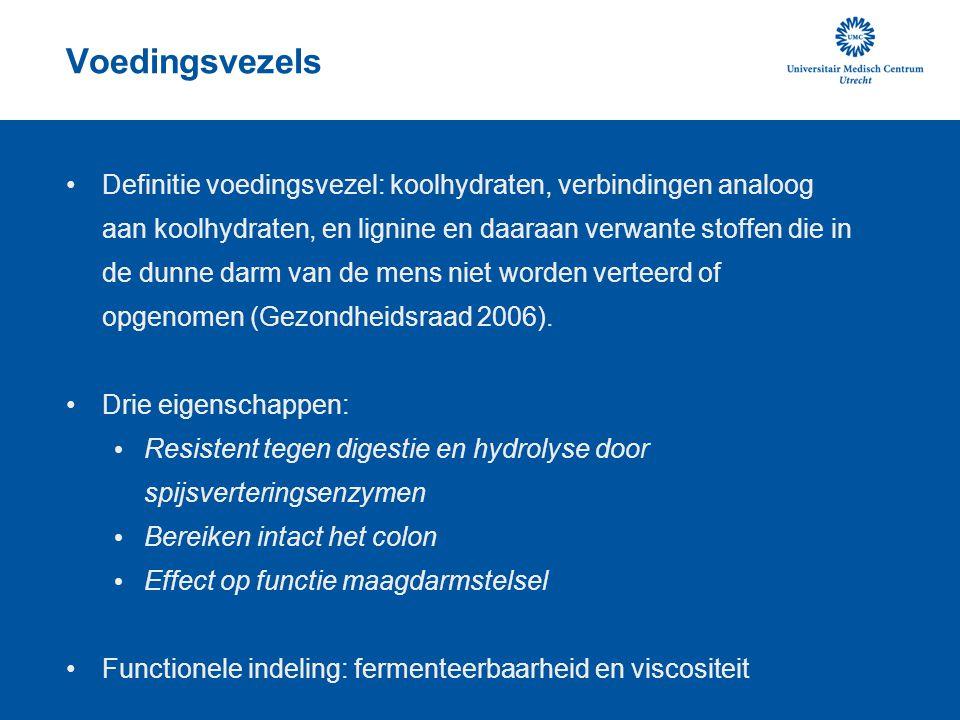 Voedingsvezels Definitie voedingsvezel: koolhydraten, verbindingen analoog aan koolhydraten, en lignine en daaraan verwante stoffen die in de dunne darm van de mens niet worden verteerd of opgenomen (Gezondheidsraad 2006).